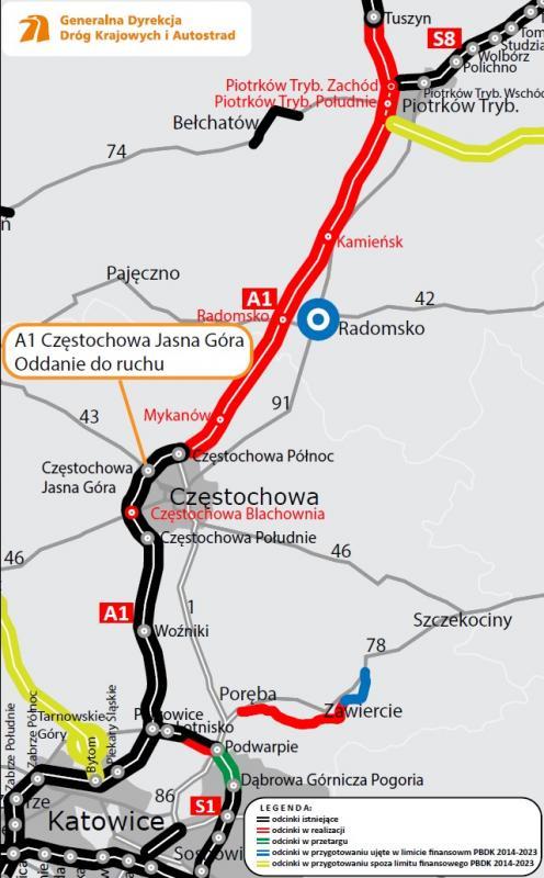 15 lutego udostępniono węzeł Częstochowa Jasna Góra na A1